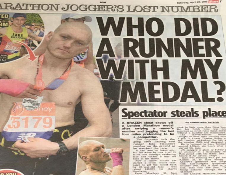 De toen nog  onbekende 'medailedief' Stanley Skupien was vorig weekend groot nieuws in heel wat  Britse kranten.