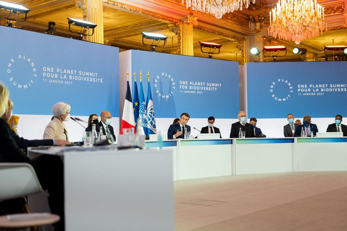 Emmanuel Macron lors de la quatrième édition du One Planet Summit dédiée aux enjeux de la protection de la biodiversité à Paris, le 11 janvier 2021.