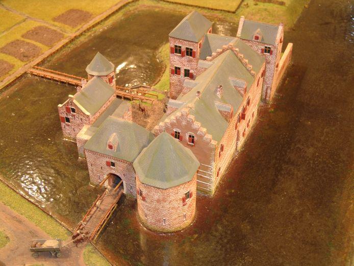 Een reconstructie van hoe het kasteel Eindhoven (1420-1676) er uit gezien kan hebben. De muur achter de toren rechtsonder stond op de huidige hoek Vestdijk-Ten Hagestraat.