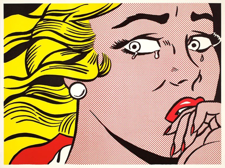'Crying Girl' (1963) van Roy Lichtenstein, nu te zien in Bergen.  Beeld Roy Lichtenstein