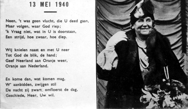 Een van de strooibiljetten die door Engelse vliegtuigen boven Nederland werden afgeworpen. De koningin geeft in een gedicht uitleg over haar vlucht naar Engeland, 1940. Beeld anp