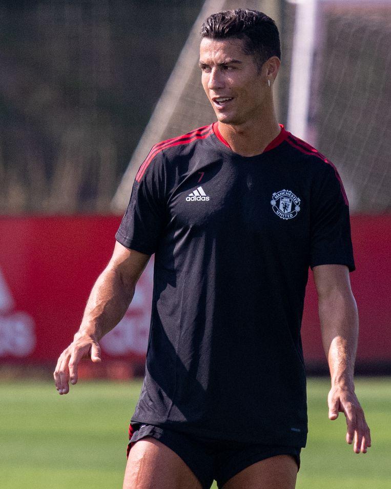 Cristiano Ronaldo op 7 september op het trainingsveld van United. Beeld Manchester United via Getty Imag