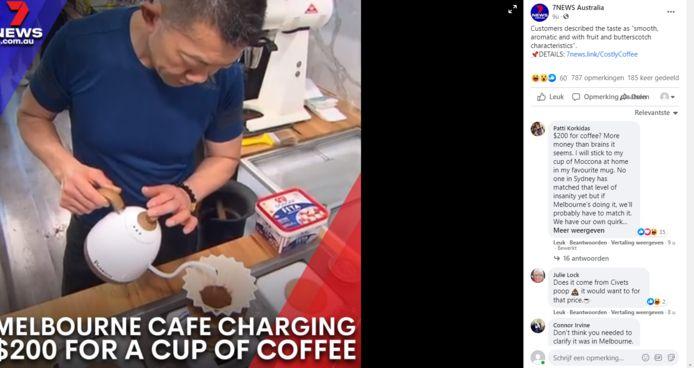 De FB-post over het exclusieve kopje koffie.