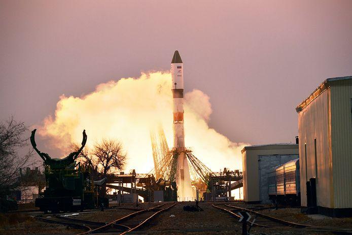 De Progress MS-16 tijdens lancering in Bajkonoer, Kazachstan.