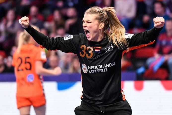 Tess Wester, de handbalkeepster van Nederland.