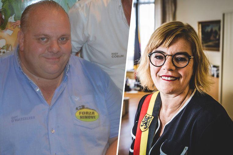 Guy D'haeseleer en huidig burgemeester Tania De Jonge.
