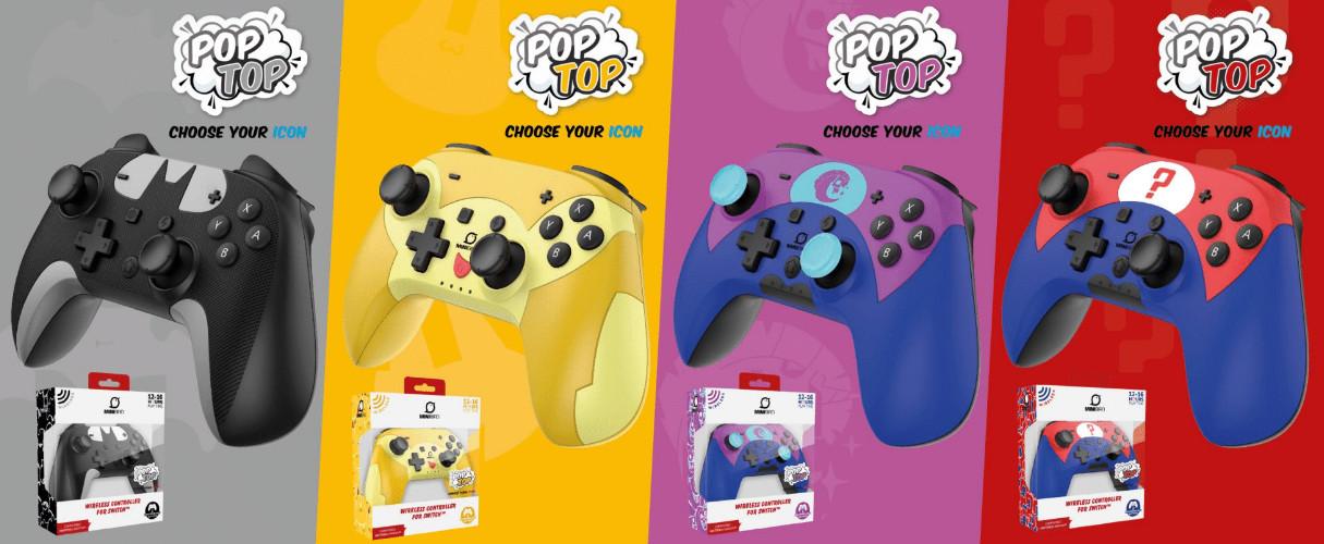 """La manette Pop Top de Minibird se décline en quatre couleurs/thèmes: """"Signal"""", """"Pika"""", """"Licorne"""" et """"Question""""."""