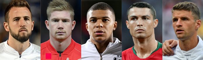 Harry Kane, Kevin De Bruyne, Kylian Mbappe, Cristiano Ronaldo, Thomas Müller