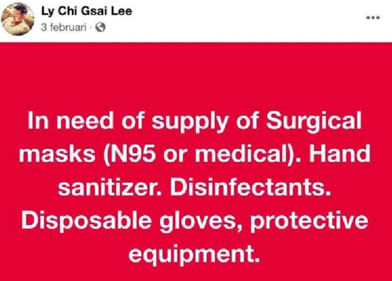 Het bericht van Gsai Lee op Facebook. Beeld Facebook