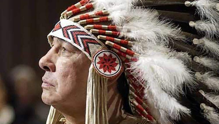 Een deelnemer aan 'United Nations Permanent Forum on Indigenous Issues' in 2003. Beeld epa