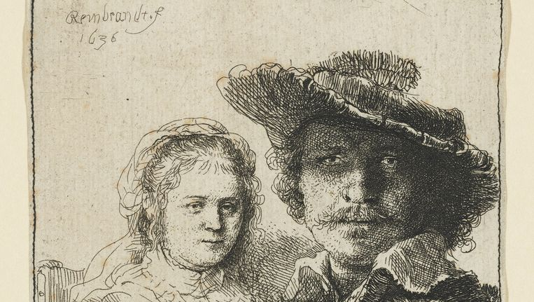 Zelfportret met Saskia uit 1636. Geschatte opbrengst: 20.000-32.000 euro. Beeld Christie's Images Limited 2016