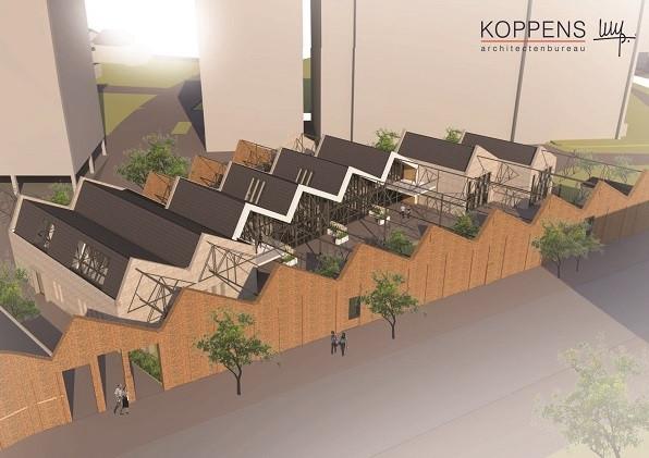 Schets van nieuwbouwplan in monumentale sheddaken aan Oostwal in Oss van architect Hein Koppens.