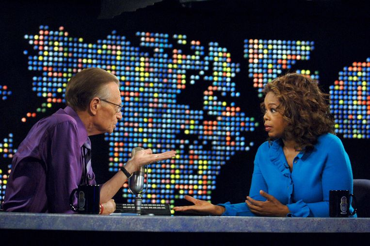 Larry King met Oprah Winfrey. Beeld Getty Images