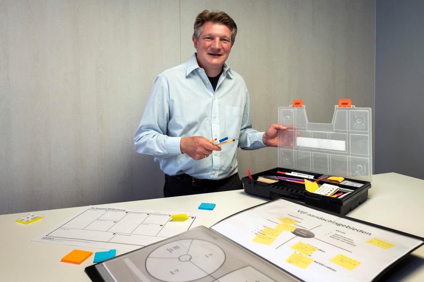 Gerrit Woerts heeft altijd en overal een kistje met stiften, potloden en post-its bij zich, zodat hij zaken visueel inzichtelijk kan maken.