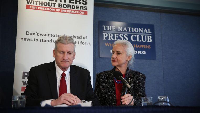 Marc en Deborah Tice, de ouders van journalist Austin Tice, tijdens een persconferentie gisteren.