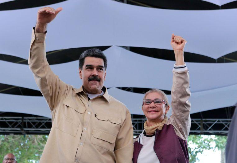 President Nicolás Maduro en zijn vrouw Cilia Flores. Beeld AFP