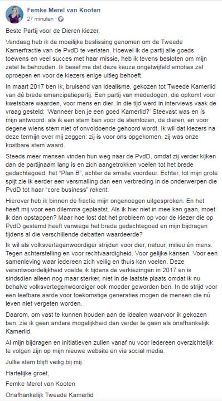 Femke Merel van Kooten legt op Facebook uit waarom ze PvdD verlaat.  Beeld FB