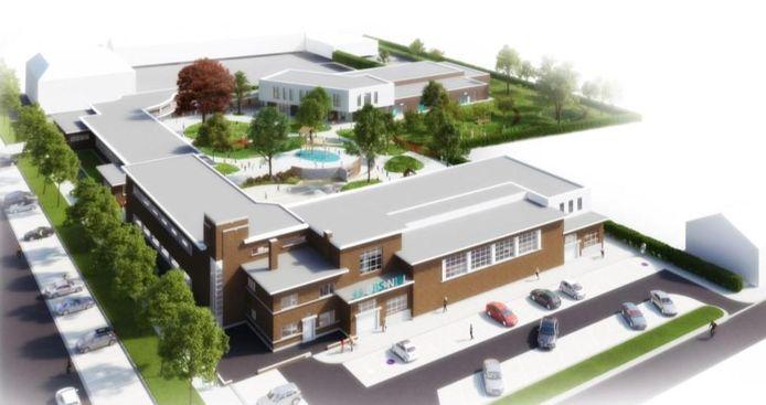 Een toekomstbeeld van de nieuwe schoolsite aan de Schuttershofstraat. Het project zal nu bekostigd worden door de scholengroep Rivierenland.