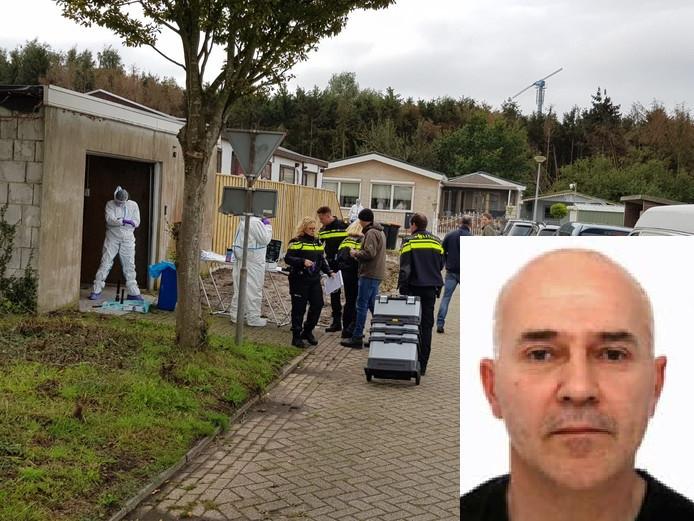 Onderzoek in een loods op het woonwagenkampje in Steenbergen naar bewijs dat Van der Heyden wellicht daar is vermoord en in stukken gesneden.