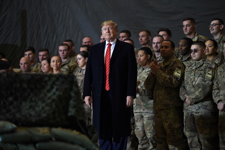 President Donald Trump brengt een bezoek aan militairen in Afghanistan, vorig jaar november.  Beeld Hollandse Hoogte