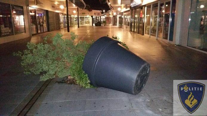 In het City Centrum in Veldhoven zijn meerdere vernielingen aangericht.