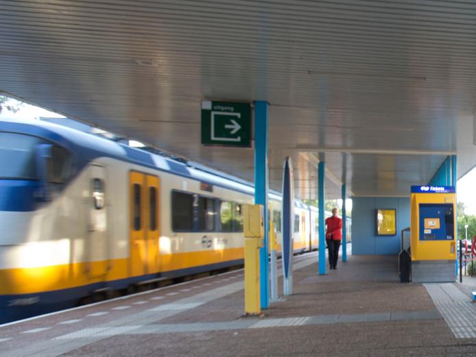 Trein op het NS station in Veenendaal op archiefbeeld.