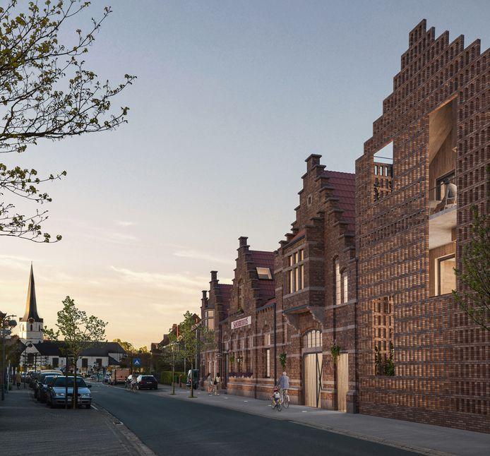 Een simulatie van de straatzijde van het project, met de kerk van Sleidinge op de achtergrond.