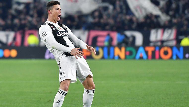 Cristiano Ronaldo na zijn 3-0 Beeld epa