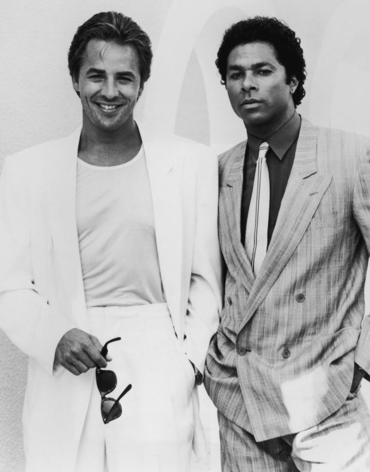 Acteurs Philip Michael Thomas en Don Johnson in de tv-serie Miami Vice Beeld Getty