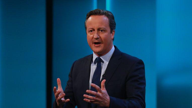 David Cameron tijdens een televisieoptreden in Londen. Beeld null