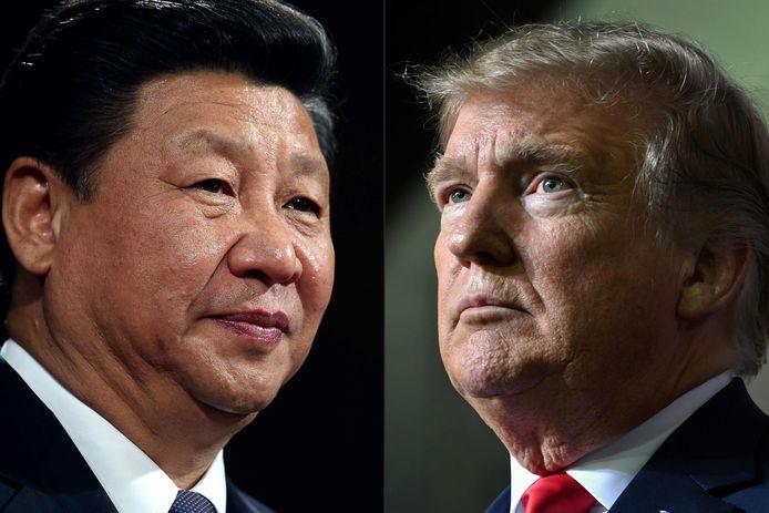Presidenten Xi Jinping en Donald Trump.