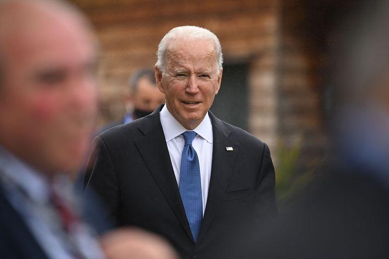 Joe Biden tijdens de G7-top in het Verenigd Koninkrijk. (11/06/2021) Beeld AFP