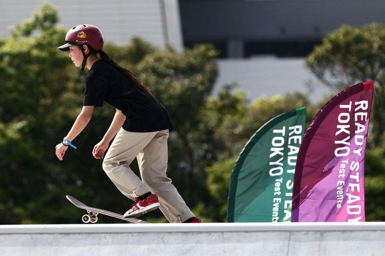De Japanse Miyu Ito tijdens het olympisch testevenement skateboarden, dat de afgelopen dagen plaatsvond. Skateboarden is een nieuwe sport op de Spelen. Beeld AFP