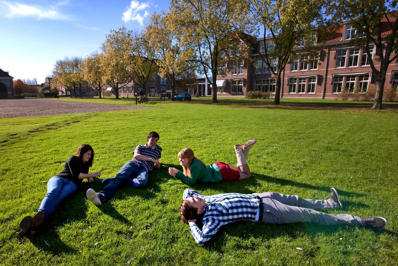 Studenten chillen op het gras rond de campus.