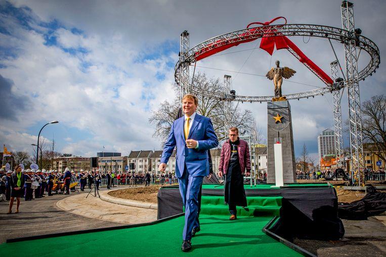 Koning Willem-Alexander tijdens de opening van de Groene Loper. Dit is het gebied rondom en bovenop de nieuwe A2-tunnel. Beeld ANP