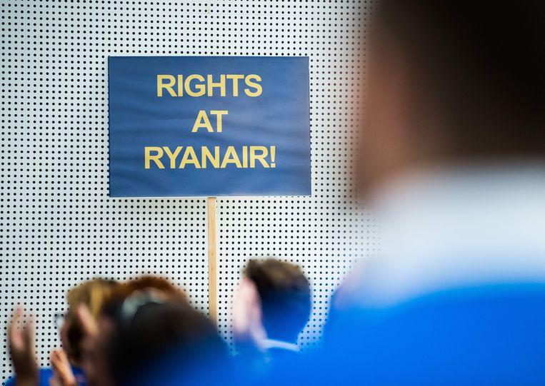De staking van de Duitse Ryanair-piloten in Frankfurt am Main afgelopen vrijdag.