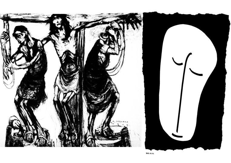 Albert Servaes, uit 'de Kruisweg van Luithagen'; Ignace Schretlen, uit 'Kruisweg van de angst'.   Beeld Collectie Ignace Schretlen