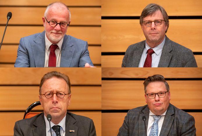 Wethouders Laurens Klappe, Hans de Haan, Wouter Vogelsang en Leo van der Velden overleven de crisisvergadering in Ermelo.