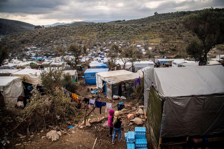 Een van de vluchtelingenkampen op het Griekse eiland Lesbos.