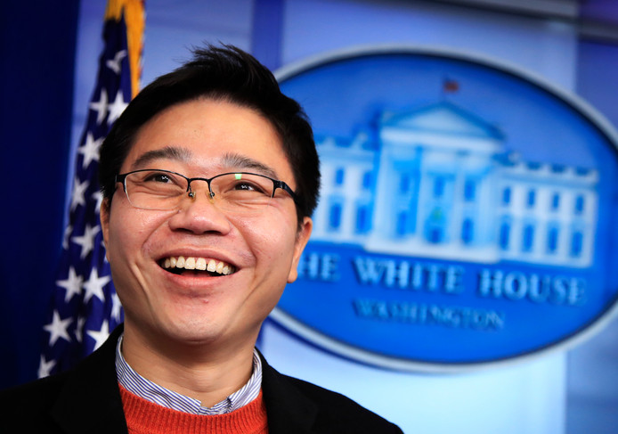 De Noord-Koreaanse overloper Ji Seong-ho tijdens zijn bezoek aan het Witte Huis