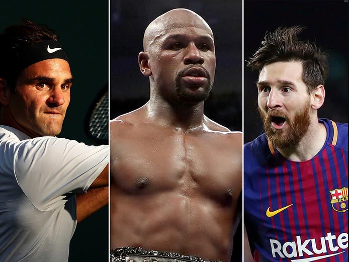 Vlnr: Roger Federer, Floyd Mayweather en Lionel Messi.