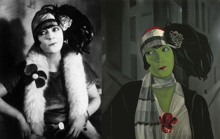 Links: Asta Nielsen in Die Freudlose Gasse (1925). Rechts: Pyke Koch, Portret van Asta Nielsen (1929).  Beeld Atelier Alexander Binder en Collectie Centraal Museum Utrecht