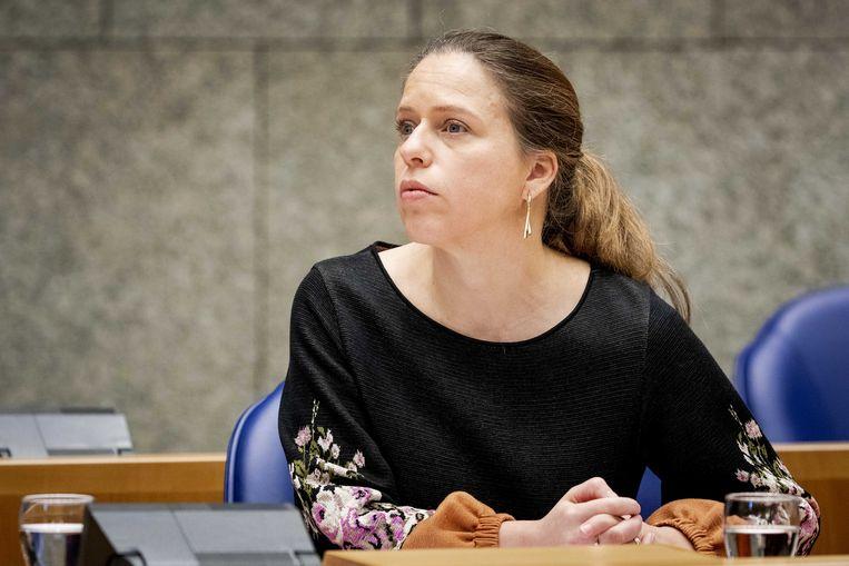 Minister Carola Schouten van landbouw tijdens een debat in de Tweede Kamer over haar stikstofwet.   Beeld ANP