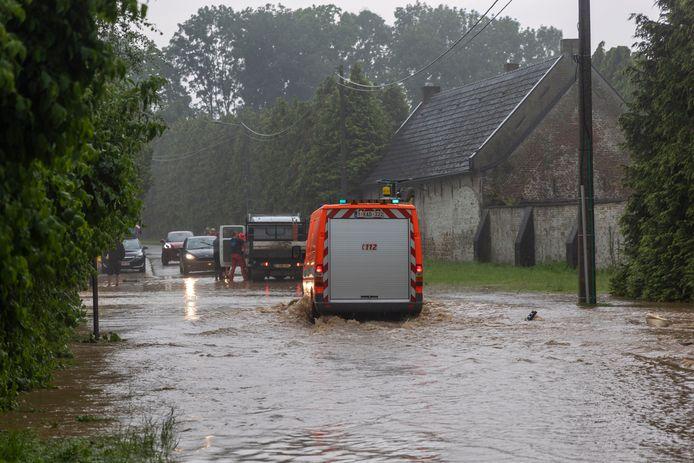 Inondation à Lens, dans le Hainaut occidental (archives, Cambron-Saint-Vincent, 29 juin 2021)
