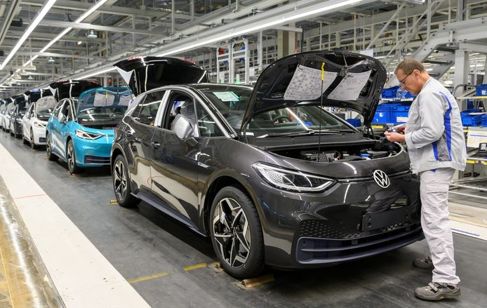 Ook de productie van de elektrische Volkswagen ID.3 in het Duitse Zwickau moet eraan geloven. Vanaf aanstaande vrijdag staat de productieband stil