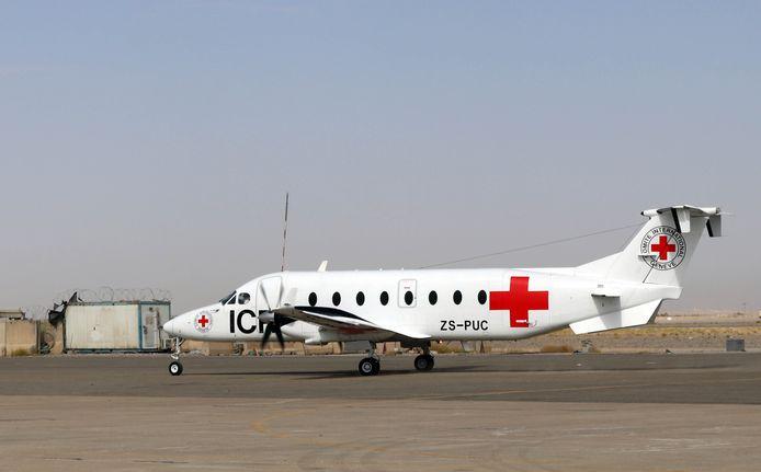 Een vliegtuig van het Internationale Rode Kruis in Kandahar, Afghanistan. (05/09/2021)