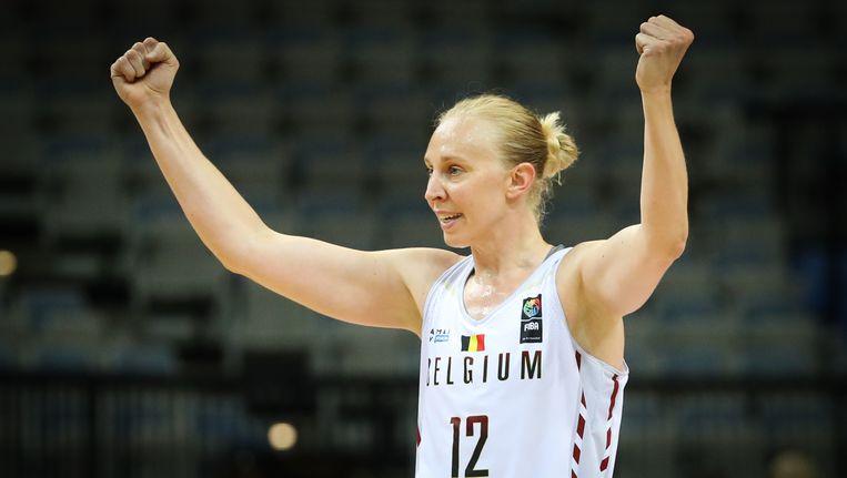 Ann Wauters balt de vuisten, België heeft zich voor het eerst in de geschiedenis geplaatst voor het WK basketbal. Beeld BELGA