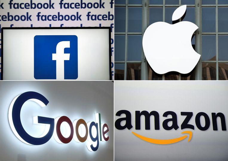 De logos van Facebook, Apple, Google en Amazon. Beeld AFP
