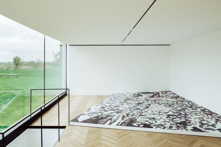 Luc Tuymans' vloerschilderij voor de expo van Gert Robijns wordt mogelijk vandaag vernietigd. Beeld Thomas Sweertvaegher