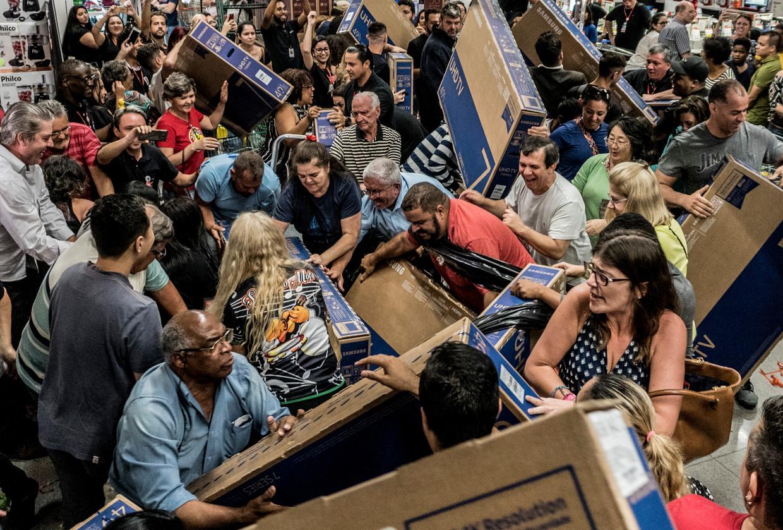 Chaos in supermarkten Beeld NurPhoto via Getty Images
